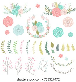 Set of hand drawn sweet floral element. Floral wreath. Vector illustration.