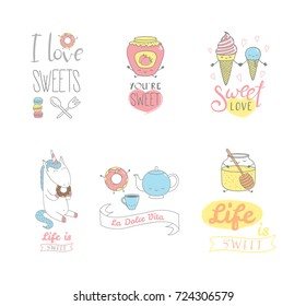 Set of hand drawn sweet food doodles, with kawaii cartoon faces, typography elements, Italian text La dolce vita (Sweet life). Isolated objects on white background. Design concept dessert, kids.
