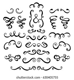 Set of hand drawn swirls.  Design element for wedding cards, in invitations and save the date cards.