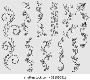 Set of hand drawn swirly vines