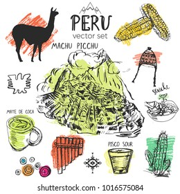 Set of hand drawn symbols of Peru. Typical Peruvian culture elements with splash of color on the background.