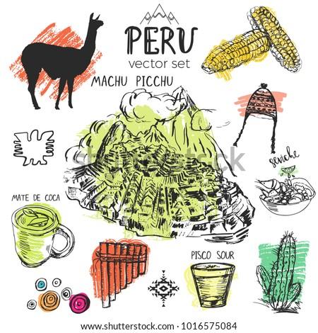 Set Hand Drawn Symbols Peru Typical Vector de stock (libre ...