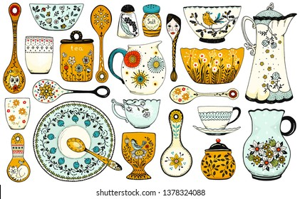 Set of hand drawn tableware items isolated on white background. Vintage ceramic kitchen utensils or crockery - cups, dishes, bowls, pitchers. Vector colorful illustration in rustic style.