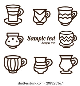 Set hand drawn tea cups, coffee cups isolated on a white background. Icons. Line. Abstract design logo. Logotype art - vector