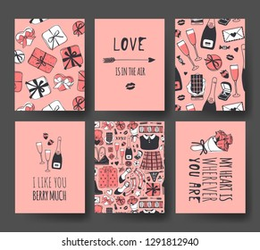 Set of Hand drawn Templates Fashion Cards with Romantic Objects and quote. Creative ink art work. Actual vector drawing of Holiday things. Happy Valentine's Day Illustration