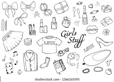 Set of Hand drawn Templates Fashion illustration with Girls Stuff. Set of women's clothing, jewelry, cosmetics, gifts and romance. Actual vector drawing of lovely things. Interests of a young  girl.