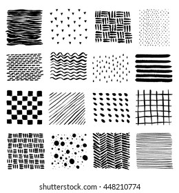 Set of Hand Drawn textures made with ink.