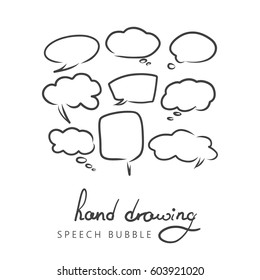 Set of hand drawn think and talk speech bubbles for message and dialog words. Doodle style comic balloon, cloud, heart shape design elements. Isolated vector.