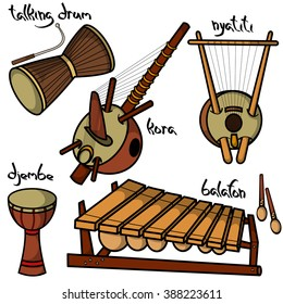 Set of hand drawn traditional African musical instruments. Kora, Nyatiti, Balafon, Djenbe and Talking drum.