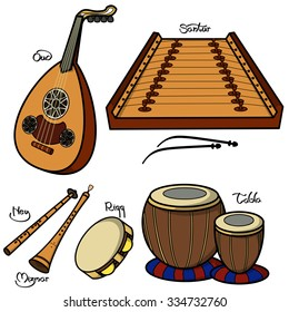 Set of hand drawn traditional Arabic musical instruments. Oud, santur, ney, mizmar,riqq and tabla.