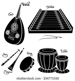 Set of hand drawn traditional Arabic musical instruments. Oud, santur, ney, mizmar, riqq and tabla. Black silhouettes technique drawing.