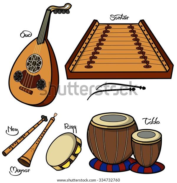 Set Hand Drawn Traditional Arabic Musical Stock Vector