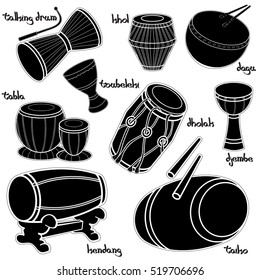 Set of hand drawn traditional drums. Djembe, taiko, dholak, kendang, toubeleki, dagu and tabla. Black silhouettes technique drawing.