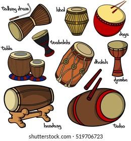 Set of hand drawn traditional drums. Djembe, taiko, dholak, kendang, toubeleki, dagu and tabla. Vector illustration.