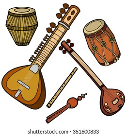 Set of hand drawn traditional Indian musical instruments. Sitar, tanpura, bansuri, pungi, dholak and khol.