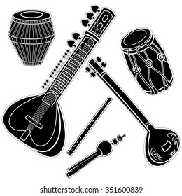 Set of hand drawn traditional Indian musical instruments. Sitar, tanpura, bansuri, pungi, dholak and khol. Black silhouettes technique drawing.