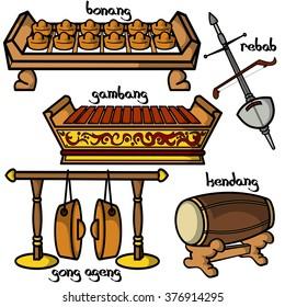 Set of hand drawn traditional Indonesian musical instruments. Elements of Gamelan. Bonang, gambang, rebab, gong ageng and kendang.