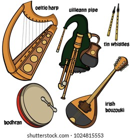 Set of hand drawn traditional Irish musical instruments. Celtic harp, uilleaann pipe, bodhran, irish bouzouki and tin whistles. Vector illustration.