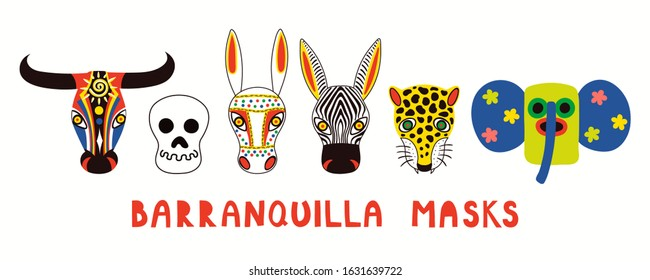 Set of hand drawn traditional masks, bull, donkey, leopard, zebra, marimonda, death. Vector illustration. Isolated on white. Flat style design. Element for Barranquilla Carnival poster, flyer, banner.