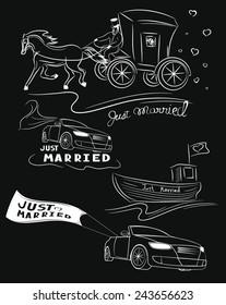 Set of  hand drawn transport for wedding