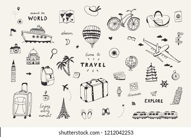 Set of hand drawn travel doodle objects. Tourism sketch with travelling elements: compass,ticket,plane,bag,car.