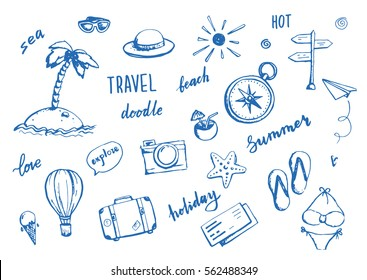 Set of hand drawn travel doodle. Vector illustration. Tourism and summer sketch with travelling elements: compass, bikini, sunglasses, camera, cocktail, ticket.