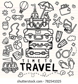 Set of hand drawn travel doodle. Vector illustration. Tourism and summer sketch with travelling elements: bag, balloon,fin, sunglasses, camera, cocktail, ticket ,sketch on note paper,
