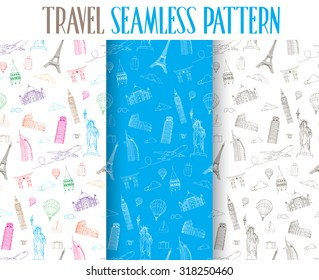 Set of Hand Drawn Travel the World Seamless Pattern. Vector Illustration