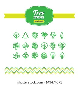 Set of hand drawn tree icons
