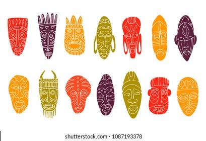 Set of hand drawn tribal masks. African symbols. Doodle. Vector illustration.