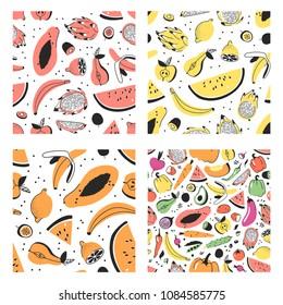 Set of hand drawn set of tropical fruits. Vector artistic seamless pattern with food. Summer illustration watermelon, banana, papaya, pitaya, pear, apple, lemon, passion fruit and kiwi