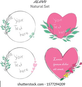 Set of hand drawn valentine element, natural, leaf icon and line art. Alami mean natural in indonesian language
