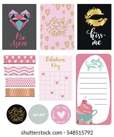 Set of hand drawn Valentine's Day stickers and cards. Kiss me. Be Mine. Only you. Vector illustration