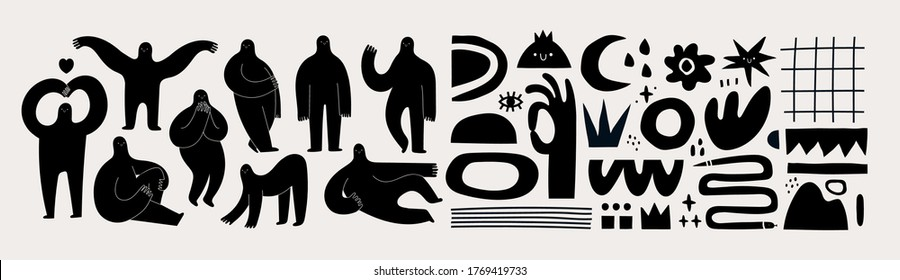 Set of Hand drawn various Shapes and Doodle objects and People silhouettes. Abstract contemporary modern trendy Vector illustrations. Black monochrome concept. Dark theme. All elements are isolated
