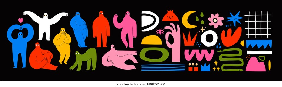 Set of Hand drawn various Shapes and Doodle objects and People silhouettes. Abstract contemporary modern trendy Vector illustrations. Colorful palette. All elements are isolated