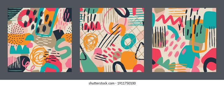 Set of Hand drawn various shapes and leaves, spots, dots and lines. Different colors. Abstract contemporary seamless pattern. Modern patchwork illustration in vector