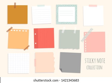 Set of hand drawn various sticky notes. Office tools. Reminder notepapers. To do list. Colored vector illustration. Flat design. All elements are isolated