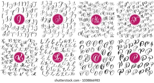 Set of Hand drawn vector calligraphy letters I, J, K, K, M, N, O, P. Script font alphabet. Isolated letters written with ink. Handwritten brush style. Hand lettering for logos packaging design poster