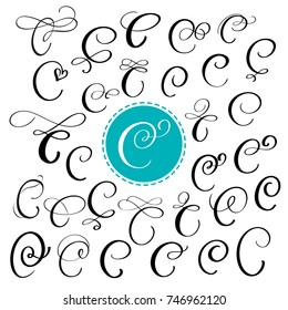Set of Hand drawn vector calligraphy letter C. Script font. Isolated letters written with ink. Handwritten brush style. Hand lettering for logos packaging design poster. Typographic set on white