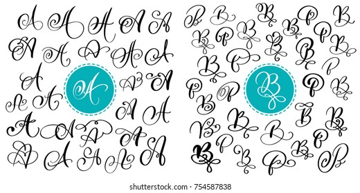 Set of Hand drawn vector calligraphy letter A and B. Script font. Isolated letters written with ink. Handwritten brush style. Hand lettering for logos packaging design poster