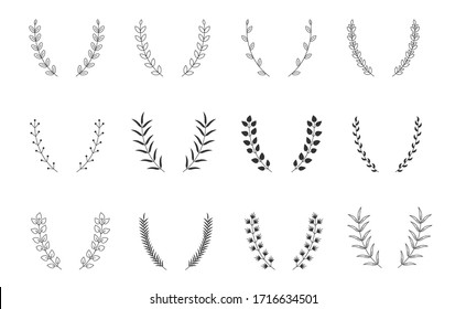 Set of hand drawn vector circular decorative elements for your design. Leaves, swirls, floral elements
