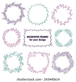 The set of hand drawn vector circular decorative elements for your design. Leaves, swirls, Floral elements. Elegant collection for wedding invitations, love and valentine's day greeting cards.