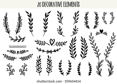 Set of hand drawn vector circular decorative elements for your design. Leaves, swirls, floral elements.