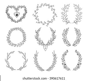 The set of hand drawn vector circular decorative elements for your design. Leaves, swirls, floral elements. For print and web design. Can be used for logo.