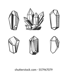 Set with hand drawn vector crystals and minerals isolated on white.