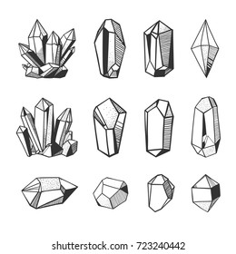 Set of hand drawn vector crystals and minerals. Gems and stones isolated on white background.