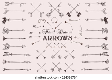 The set of hand drawn vector decorative elements for your design. Leaves, swirls, floral elements, circular frames, borders, dividers.
