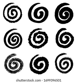 set of hand drawn vector doodle spiral sketch illustrations. spiral doodle icon .design element isolated on white background.