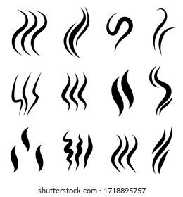 set of hand drawn vector doodle smoke symbol. Aroma smell icon. Vector illustration.