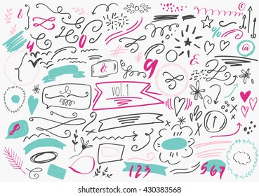 Set of hand drawn vector elements including arrows, hearts, numbers, lines, squiggles, frames, borders, calligraphic swirls, branches, stars, dots, plants, ampersands, drops, speech bubbles, ribbons.
